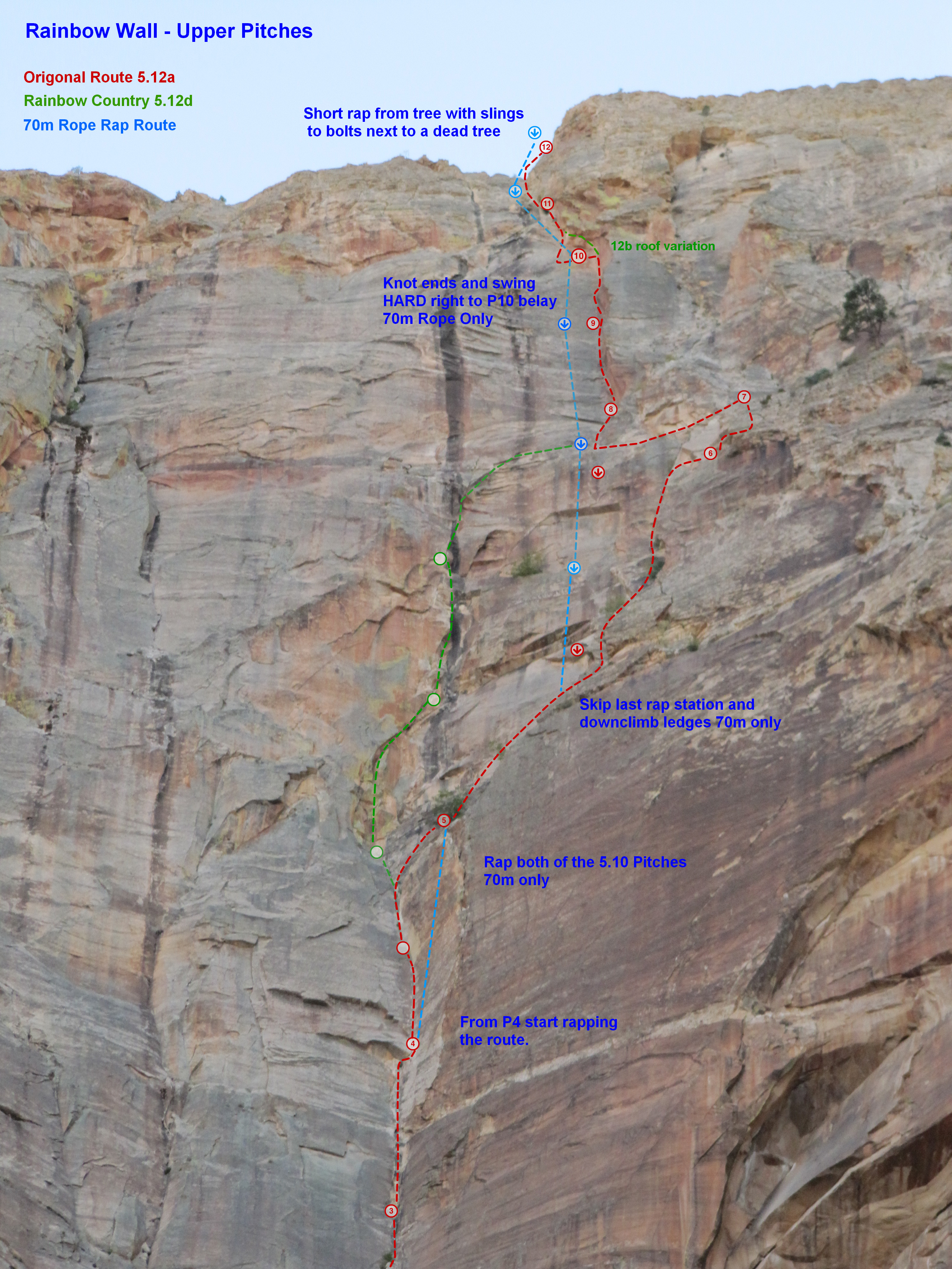 Rainbow Wall - Upper Pitches